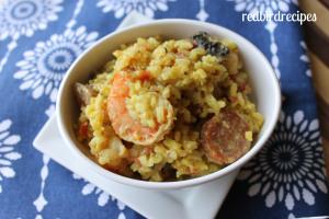 Shrimp, Sausage, Mushroom, and Saffron Rice Casserole